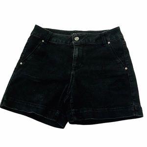 D JEANS Black High Waisted Denim Stretch Short 4